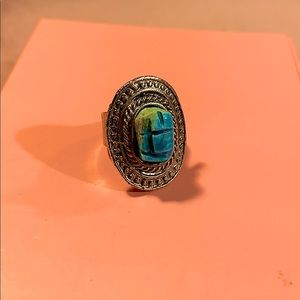Vintage Turquoise and Silver Tone Ring